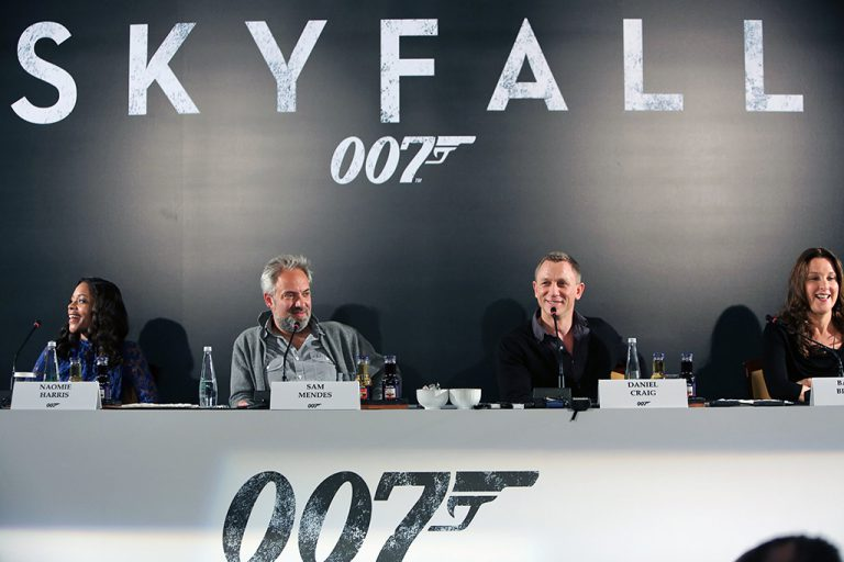 APRIL 29, 2012: (L-R) Naomie Harris, Director Sam Mendes, Daniel Craig and Producer Barbara Broccoli attend a photo conference to mark the filming of SKYFALL, the 23rd James Bond adventure, in Istanbul, Turkey. It is the 3rd time in the 50 year history of the film franchise that the city has served as a backdrop. The photo call took place at the Ciragan Palace Kempinski Hotel on Sunday, April 29, 2012 in Istanbul, Turkey.